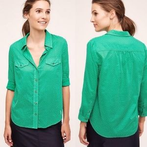 Maeve 0 Mini Polka Dot Green Button Down Shirt